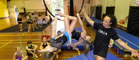 Learning new acrobatic and circus skills in Bundaberg. Photo credit Paul Beutel Photography.